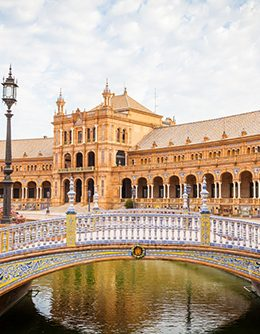 Spain, Seville. Spain Square, a landmark example of the Renaissance Revival style in Spanish architecture