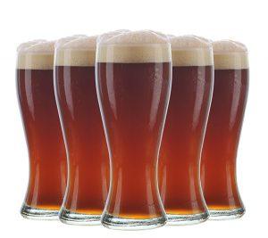 Arrangement of five beer glasses
