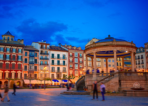 Pamplona Navarra in Spain plaza del Castillo square downtown