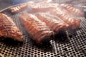 BBQ ribs grilled meat smoke fog barbecue food